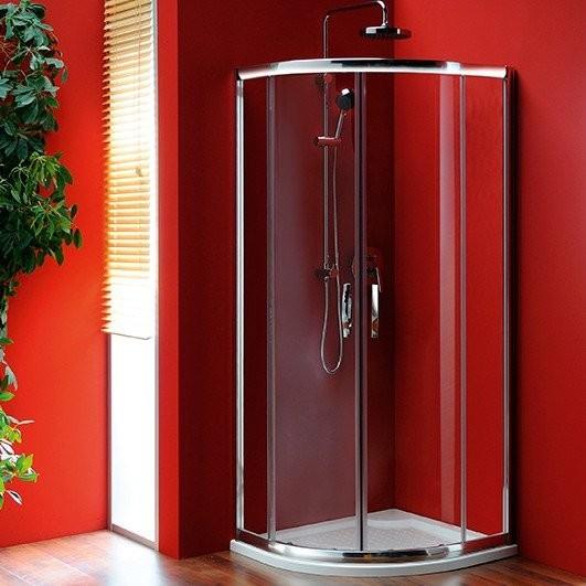 Čtvrtkruhová posuvná sprchová zástěna SIGMA s dvoudílnými dveřmi R550