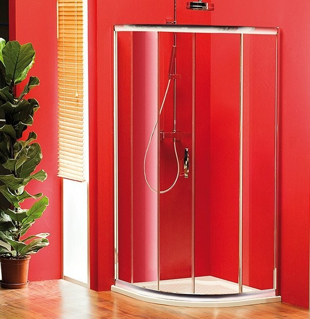 Čtvrtkruhová posuvná sprchová zástěna SIGMA s jednodílnými dveřmi R550