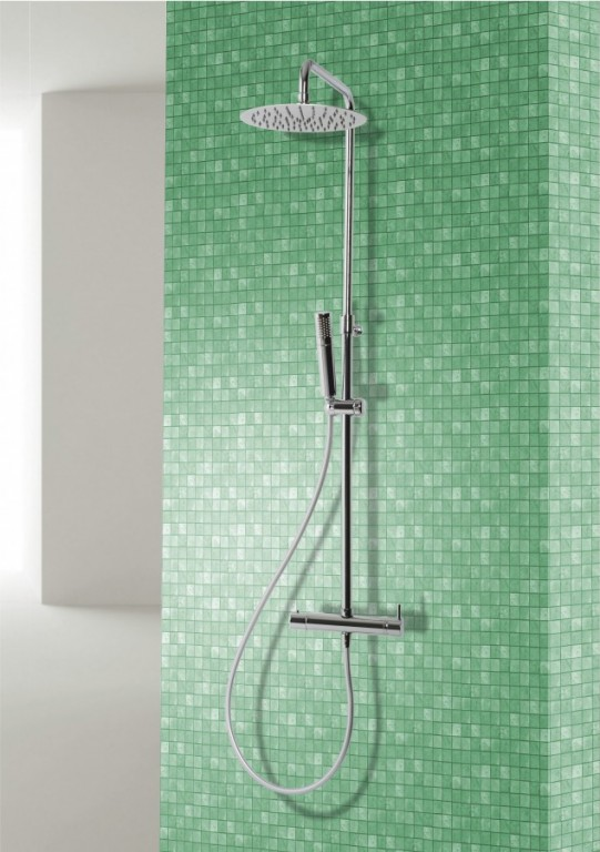 Sprchový panel s nastavitelnou výškou, s termostatickou baterií ARECO-E Therm