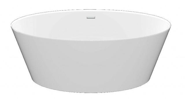 Volně stojící vana z litého mramoru TESS 160x72x53cm, bílá