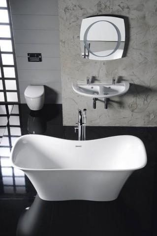 Volně stojící vana z litého mramoru FLORA 180x80x67cm, bílá