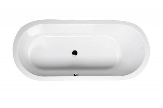 Oválná akrylátová volně stojící vana ASTRA OW obložení v 5 barvách, 165x75x48cm, bílá
