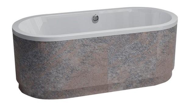 Oválná akrylátová volně stojící vana ASTRA OW obložení Metallo, 165x75x48cm, bílá
