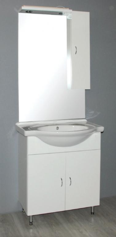 Kompletní set bílá skřínka s umyvadlem SANDRA 75, zrcadlo se skřínkou s osvětlením