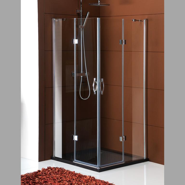 Bezrámová pantová čtvercová sprchová zástěna LEGRO 900x900mm, čiré sklo