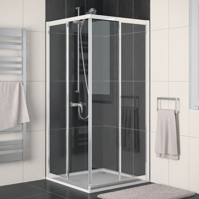 Čtvercový sprchový kout s rohovým vstupem s dvoudílnými posuvnými dveřmi ECO-LINE ECOAC 70x70 cm