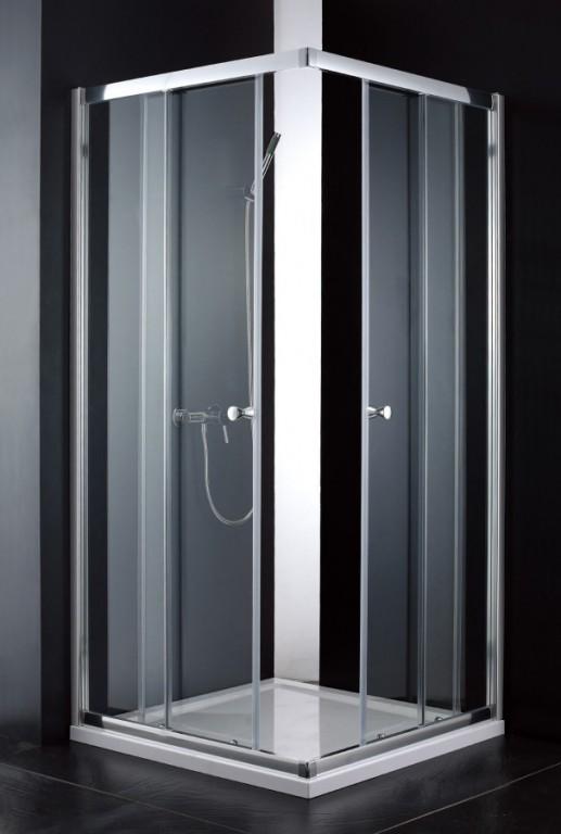 Čtvercový posuvný sprchový kout s rohovým vstupem ROY, 80 x 80 x 190 cm