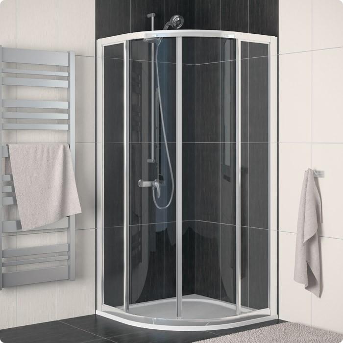 Čtvrtkruhový sprchový kout s dvoudílnými posuvnými dveřmi ECO-LINE ECOR 100x100 cm