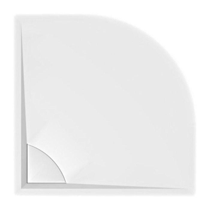 Sprchová vanička z litého mramoru se záklopem, čtvrtkruh LUSSA 90x90x4cm, R550