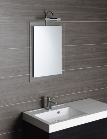 Zrcadlo lepené na čirém skle MERE 50 x 70 cm