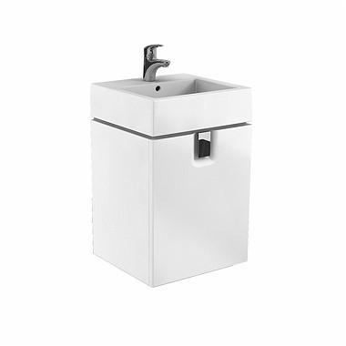 Závěsná skříňka s dvířky pod umyvadlo TWINS 50 cm lesklá bílá