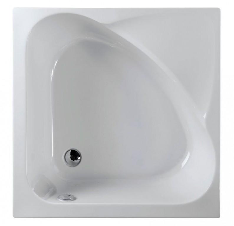 Sprchová vanička akrylátová čtvercová CARMEN 90x90x30cm, hluboká, bílá s podstavcem