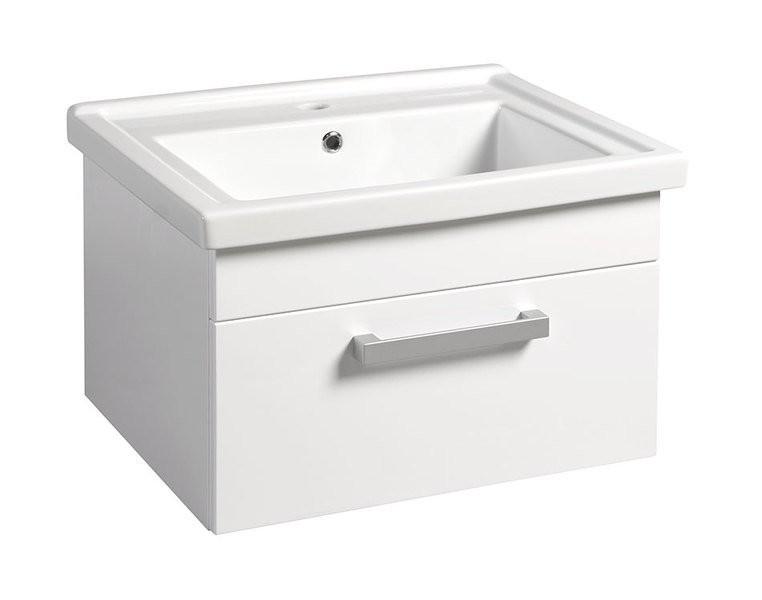 Závěsná umyvadlová skříňka POLY s keramickým umyvadlem ZENO 66 x 40 x 46,5 cm, bílá