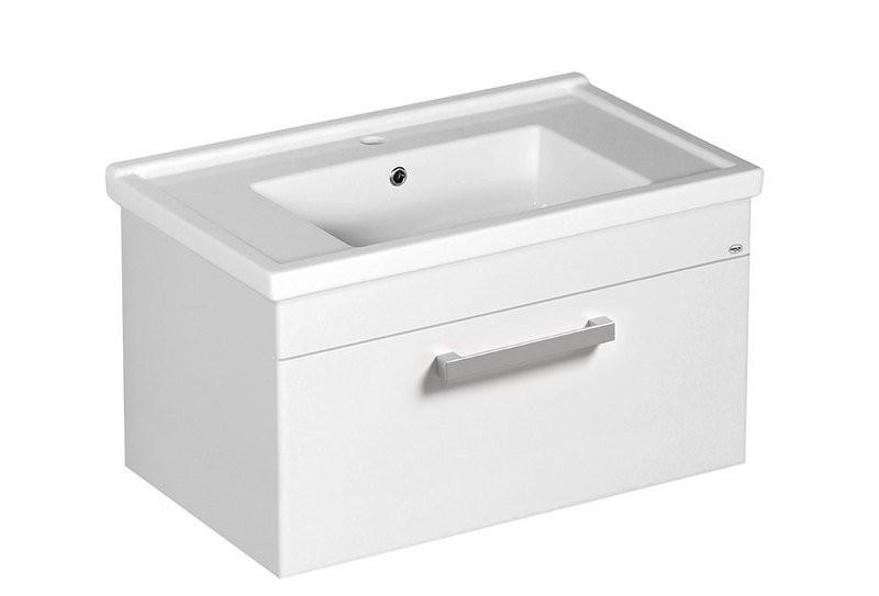 Závěsná umyvadlová skříňka POLY s keramickým umyvadlem ZENO 76 x 40 x 46,5 cm, bílá