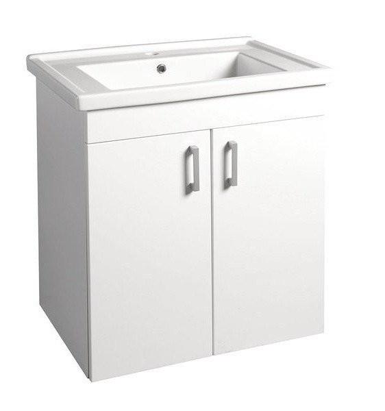 Umyvadlová skříňka POLY s keramickým umyvadlem ZENO 66 x 74,6 x 46,5 cm, bílá
