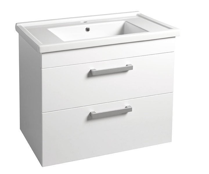 Umyvadlová skříňka POLY s keramickým umyvadlem ZENO 76 x 66,6 x 46,5 cm, bílá