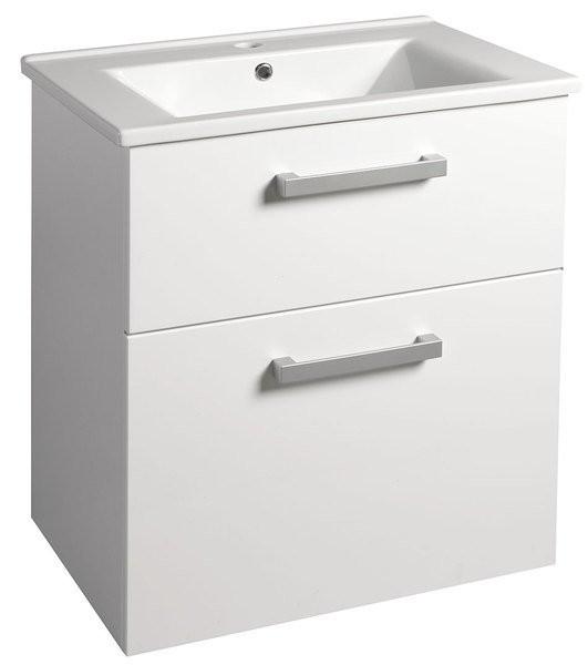 Závěsná umyvadlová skříňka VEGA s keramickým umyvadlem ZUNO 62 x 72,5 x 44 cm, bílá