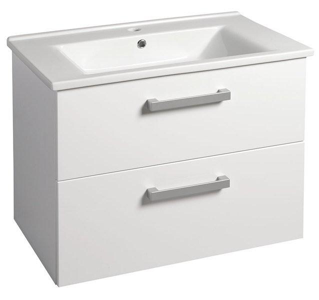 Závěsná umyvadlová skříňka VEGA s keramickým umyvadlem ZUNO 72 x 57,5 x 44 cm, 2x zásuvka, bílá