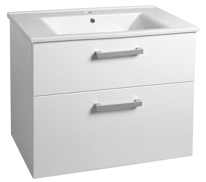 Závěsná umyvadlová skříňka VEGA s keramickým umyvadlem ZUNO 82 x 67,5 x 44 cm, 2x zásuvka, bílá