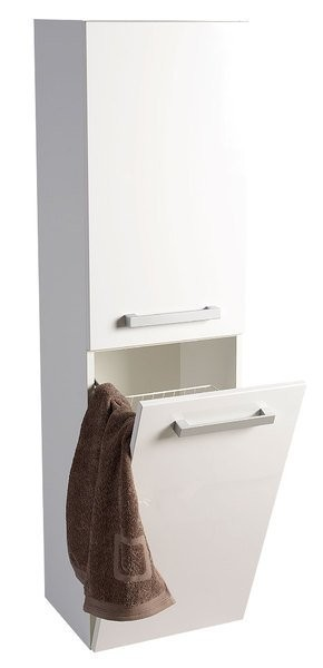 Vysoká postranní skříňka s košem VEGA 40x150x31cm, levá/pravá, bílá