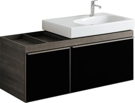 Umyvadlová skříňka CITTERIO samostatná, pro asymetrické umyvadlo 75 cm levé, provedení šedohnědá, 118,4x55,4x50,4 cm