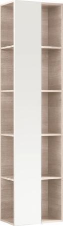 Vysoká doplňková závěsná skříňka CITTERIO se zrcadlem, provedení světlý dub, 40x160x25 cm