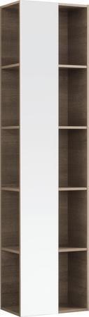 Vysoká doplňková závěsná skříňka CITTERIO se zrcadlem, provedení šedohnědá, 40x160x25 cm