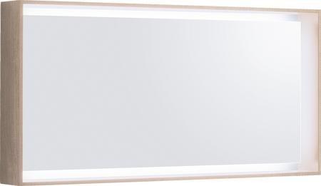 Zrcadlo s rámem a LED osvětlením CITTERIO 29,5W, variabilní závěs, světlý dub, 118x58,4x14 cm