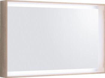 Zrcadlo s rámem a LED osvětlením CITTERIO 29,5W, variabilní závěs, světlý dub, 88,4x58,4x14 cm