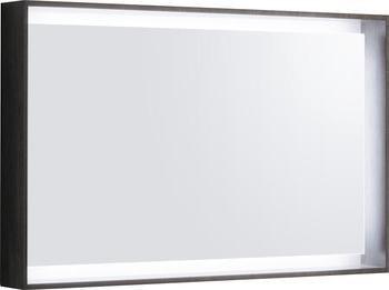 Zrcadlo s rámem a LED osvětlením CITTERIO 29,5W, variabilní závěs, šedohnědé, 88,4x58,4x14 cm