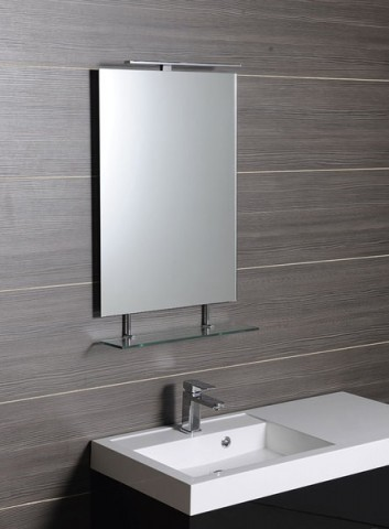 Obdélníkové zrcadlo s policí WEGA 40 x 80 cm