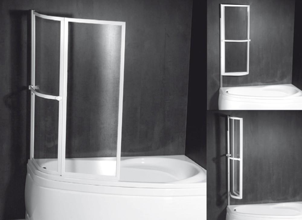 Dvoudílná vanová zástěna pneumatická NAOS 1170 mm, bílý rám, čiré sklo
