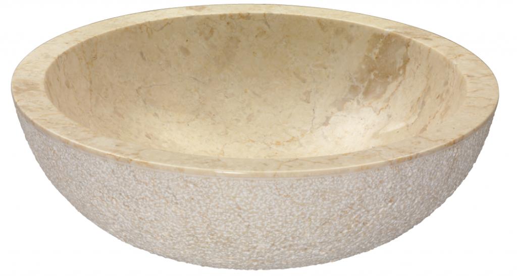 Kulaté kamenné umyvadlo Rotondo Beige Esterno Grezzo, 45 x 15 cm