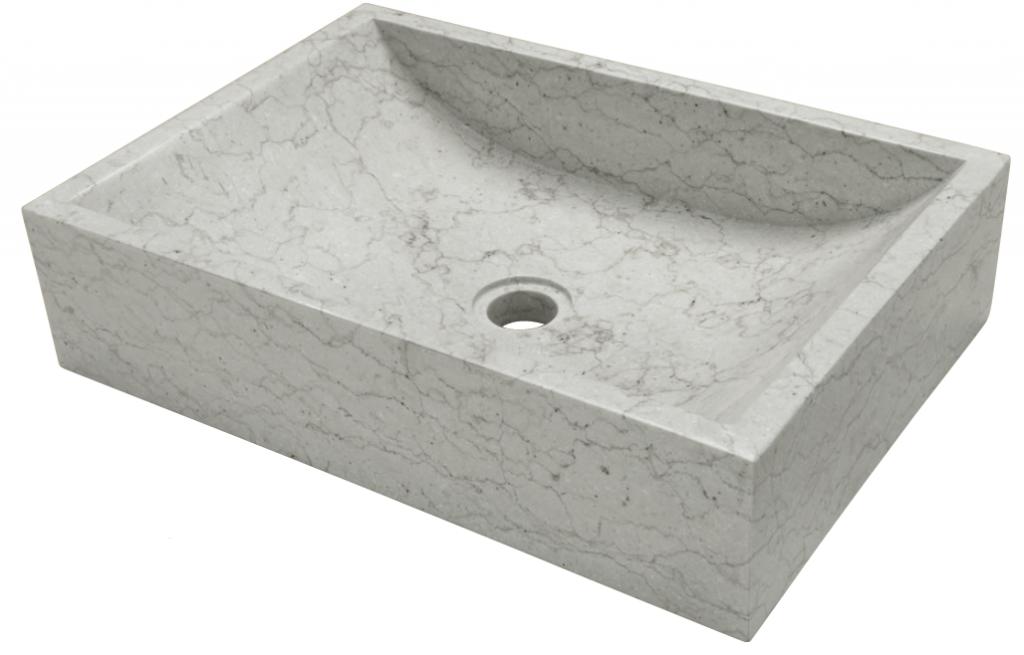 Hranaté kamenné umyvadlo Quadrato Grigio 35 x 50 x 12 cm