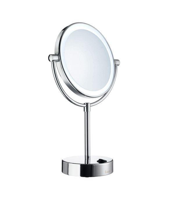 Kosmetické zrcátko volně stojící s led osvětlením chrom OUTLINE kulaté 35 x 18 x 12 cm