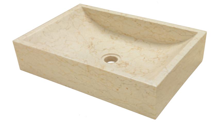Hranaté kamenné umyvadlo Quadrato Beige 35 x 50 x 12 cm