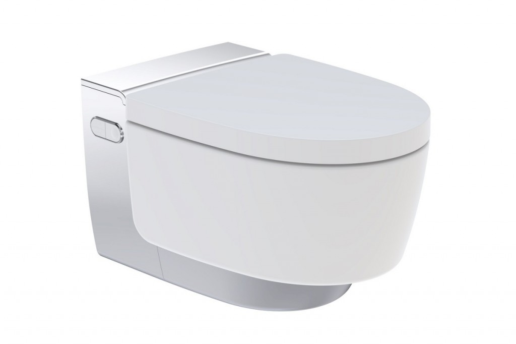 Závěsné WC s integrovanou sprchou AQUACLEAN Mera Comfort, pochromovaný lesklý kryt, 395 x 590 mm