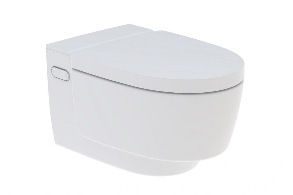 Závěsné WC s integrovanou sprchou AQUACLEAN Mera Comfort, kryt alpská bílá, 395 x 590 mm