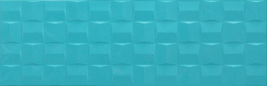 Velkoformátový dekor POTTERY Turquoise Struttura Cube 3D 25 x 76 cm