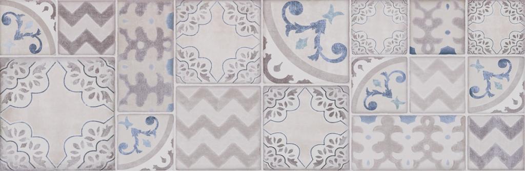 Patchwork dekor POTTERY Decoro Azulejo Silver/Slate 25 x 76 cm