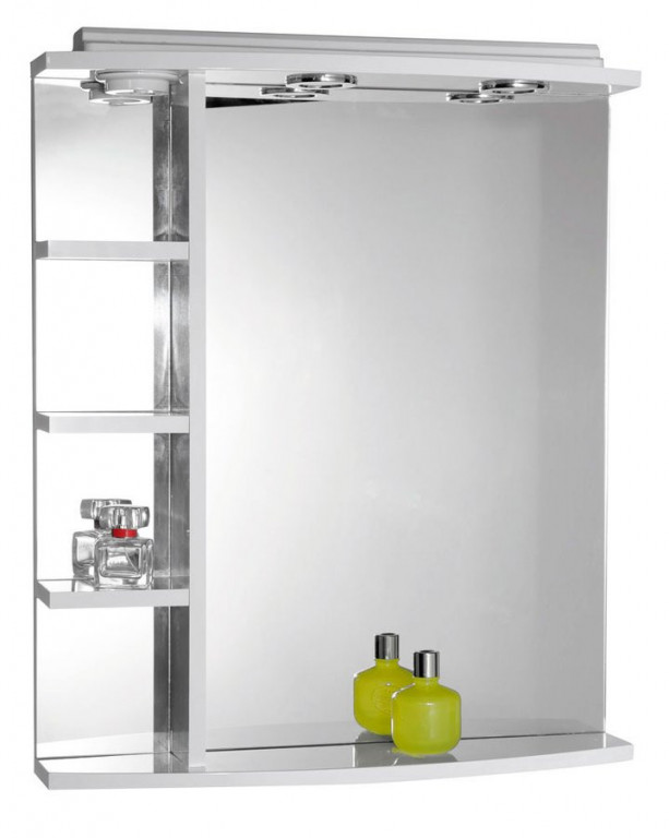 Zrcadlo s halogenovým osvětlením a poličkami 60 x 70 x 15 cm KORIN