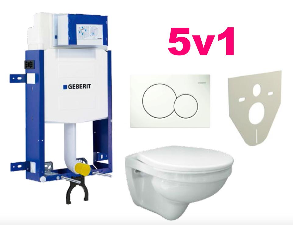Akční WC set GEBERIT 5 v 1, SETkombifix modul + WC Saval + sed + tlač + zvukoizolace
