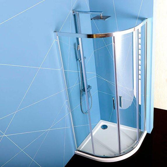 Čtvrtkruhový sprchový kout s dvoudílnými posuvnými dveřmi EASYLINE 90x90 cm