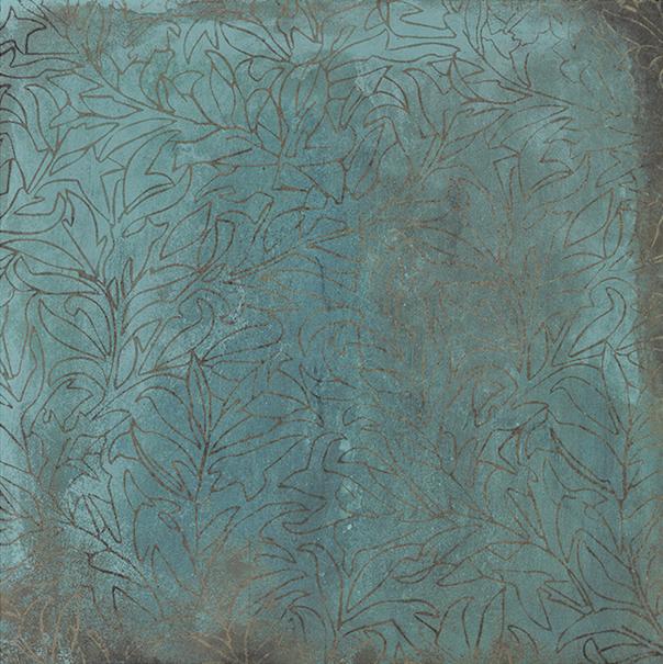 Interiérová dlažba s dekorací v kovové imitaci zoxidované mědi TRACE Mint Deco 60x60
