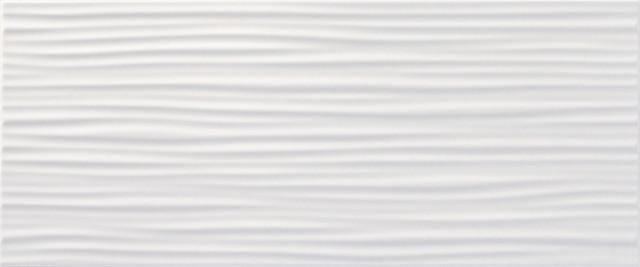 Bílý interiérový 3D dekor BLOSSOM White DC Waves 3D, 25 x 60 cm