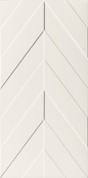 Bílý matný velkoformátový 3D dekor 4D Chevron White 40 x 80 cm