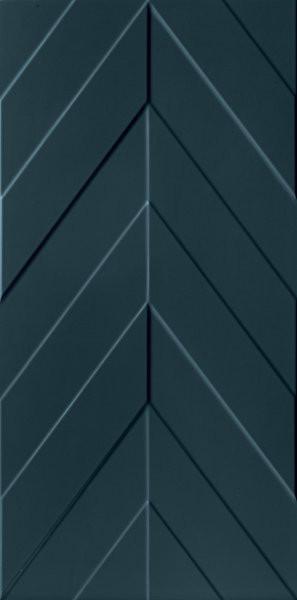 Modrý matný velkoformátový 3D dekor 4D Chevron Deep Blue 40 x 80 cm