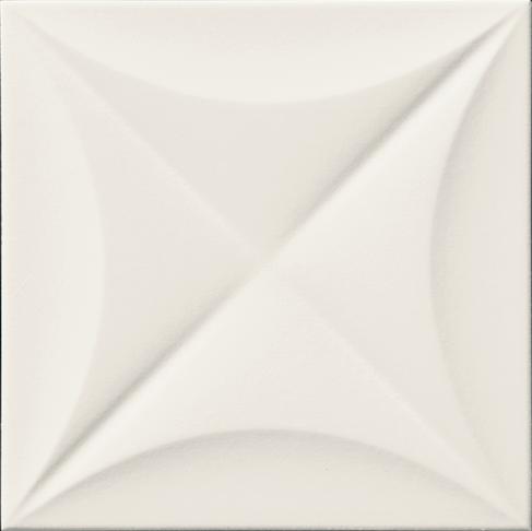 Bílý matný 3D dekor 4D Flower White 20 x 20 cm