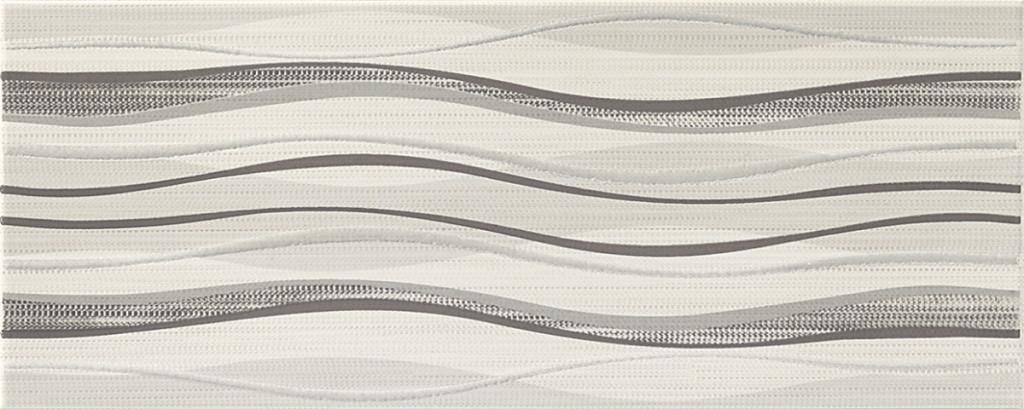 Šedý interiérový dekor vlnky ADORE White DC Waves 20 x 50 cm