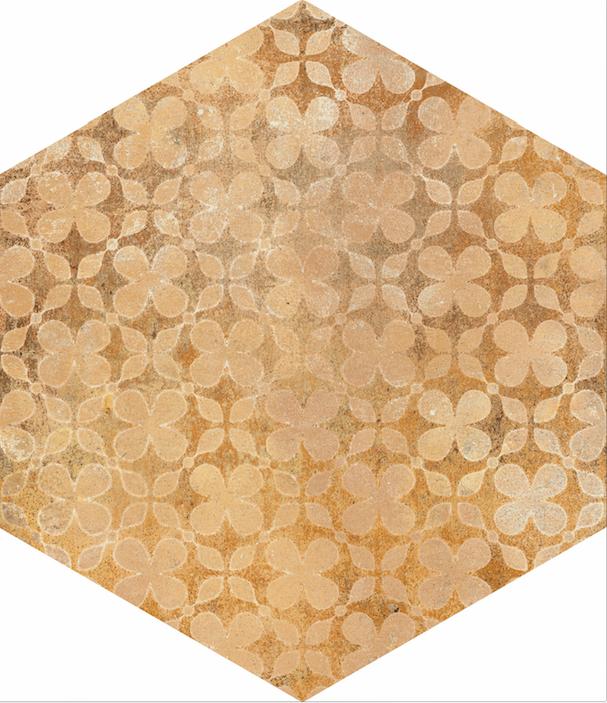 Šestiúhelníková cotto dlažba COTTI D ITALIA Decoro Beige 21 x 18,2 cm